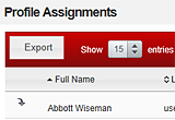 Profile Assignments screen. This is where you manage profile assignments for system users.